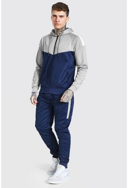 Navy Poly Colour Block Zip Hooded Tracksuit