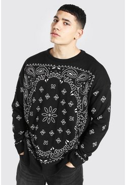 Black Oversized Bandana Crew Neck Knitted Sweater