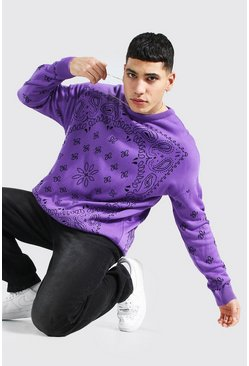 Purple Oversized Bandana Crew Neck Knitted Sweater