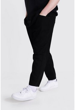 Plus Size Steife Tapered-Fit Jeans, Schwarz