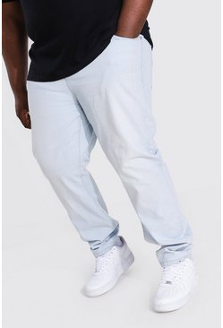Bleach wash Plus Size Slim Fit Rigid Jean