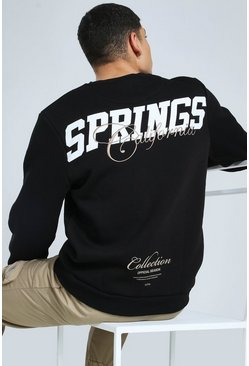 "Black svart ""Palm Springs"" Sweatshirt med tryck"