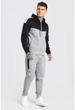 Grey Poly Colour Block Zip Hooded Tracksuit