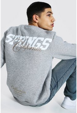 "Grey marl grå ""Palm Springs"" Sweatshirt med tryck"