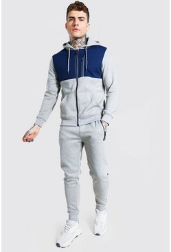 Grey marl Reflective Zip Colour Block Hooded Tracksuit