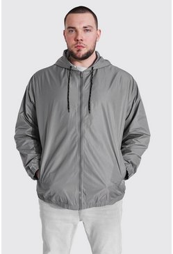 Plus Size Zip Through Cagoule, Charcoal Серый