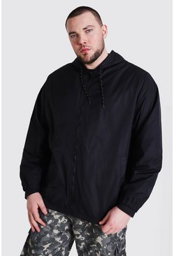 Black Plus Size Zip Through Cagoule