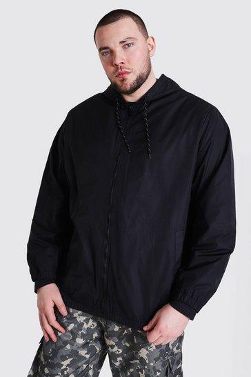 Black Plus Size Zip Through Cagoule