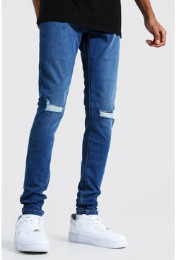 Mid blue blue Tall Skinny Jeans With Ripped Knees