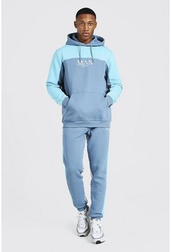 Blue Man Roman Tape Colour Block Tracksuit
