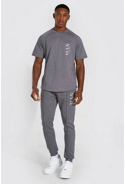 Charcoal grey Man Roman Smart T-shirt Tracksuit