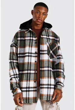 Brown Oversized Heavyweight Check Hooded Overshirt