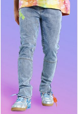 Ice blue Skinny Rigid Graphic Embroidered Jean