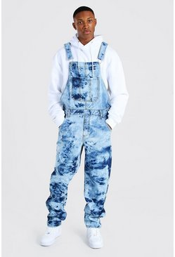 Loose Fit Cow Bleach Long Dungaree, Light blue blau