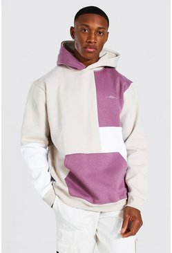 Taupe beige Man Signature Colour Block Hoodie