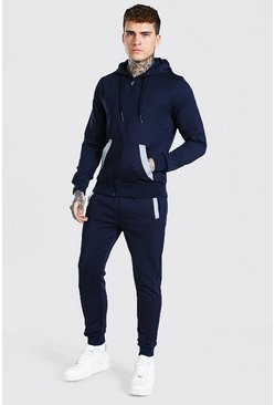 Navy Reflective Detail Zip Through Tracksuit