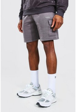 Charcoal grey Original Man Mid Length Cargo Jersey Shorts
