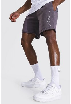 Charcoal grey Man Signature Embroidered Mid Length Shorts