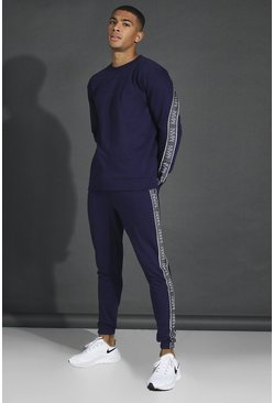 Navy Man Active Oversized Tape Sweater Tracksuit