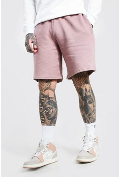 Mauve purple Man Signature Mid Length Loose Jersey Shorts