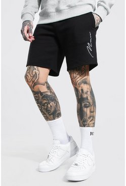 Black Man Signature Embroidered Jersey Shorts
