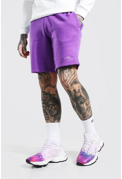 Short slim mi-long en jersey - MAN, Purple violet