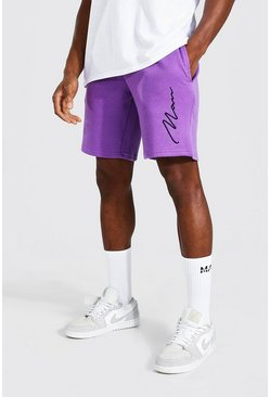 Purple Man Signature Embroidered Loose Jersey Shorts