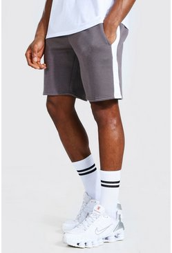 Charcoal grey Basic Mid Length Side Panel Shorts