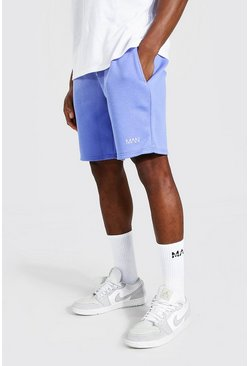 Short droit mi-long en jersey - MAN, Blue bleu