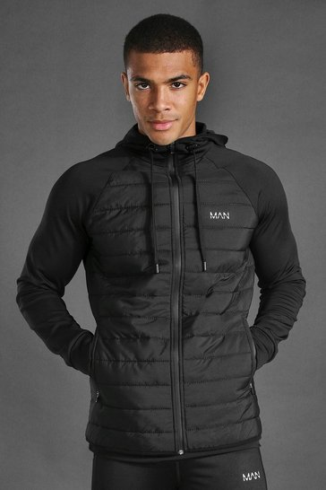 Black Man Active Quilted Zip Through Hoodie