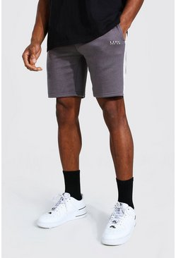 Charcoal grey Original Man Mid Length Slim Side Panel Short
