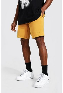 Short slim mi-long en jersey - MAN, Mustard jaune