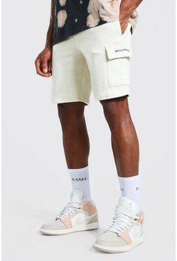 Stone beige Man Official Mid Length Slim Cargo Shorts