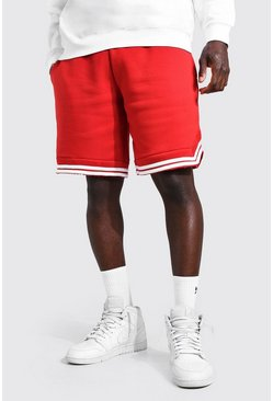 Red Basic Basketball Jersey Shorts With Tape