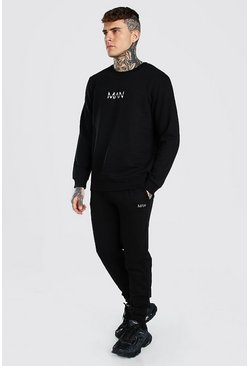 Black Original Man Print Sweater Tracksuit