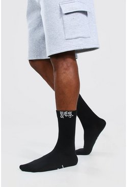 Multi 2 Pack No Yes Slogan Socks
