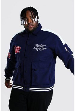 Blue Plus Size Utility Varsity Harrington