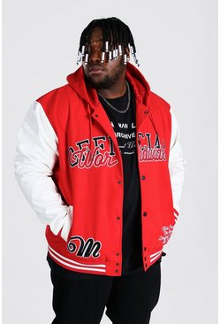 Plus Size Hooded Varsity Harrington, Red rosso