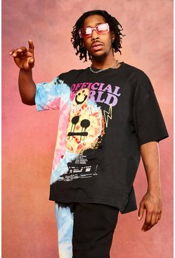 Black Oversized Flame Drip Face Tie Dye T-shirt