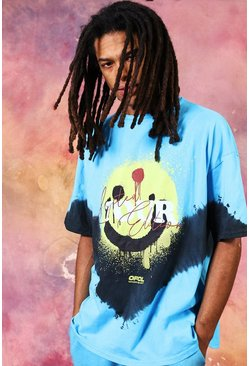 Blue Oversized Tour Drip Face Tie Dye T-shirt