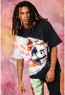 T-shirt tie-dye oversize visage coulant New Season, Black noir