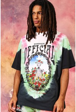 Multi Oversized Floral Skeleton Tie Dye T-shirt