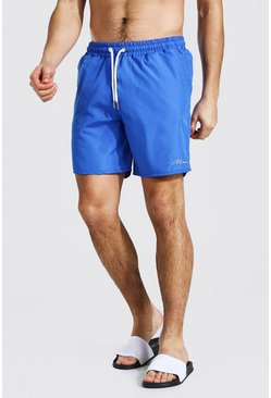 Royal blue Man Signature Mid Length Swim Short