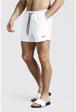 White Man Signature Swim Short In Short Length