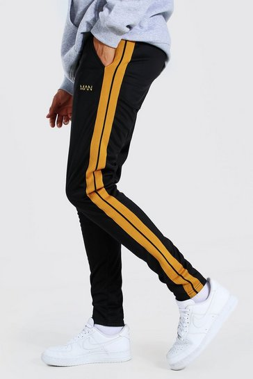 Black Tall Slim Fit Man Tricot Jogger With Tape
