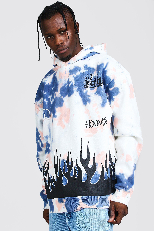 Men's Hoodies & Sweatshirts Oversized Flame Print Tie Dye Hoodie