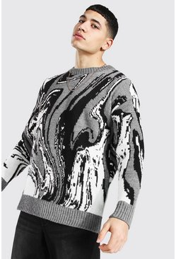 Grey Marble Print Oversized Knitted Jumper