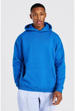 Blue Oversized Heavyweight Over The Head Hoodie