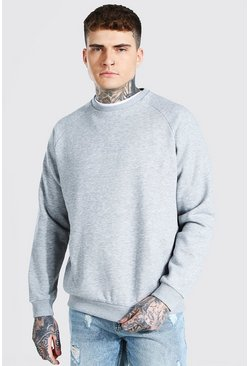 Grey marl grey Heavyweight Raglan Sweatshirt