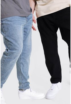 2 Pack Plus Size Slim Fit Rigid Jean, Multi